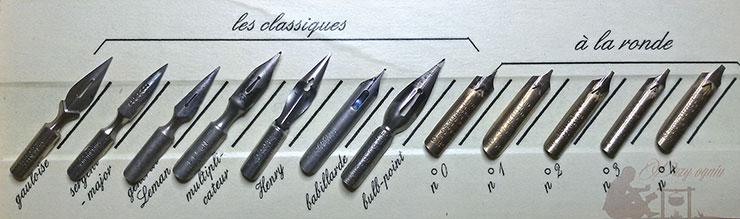 stalowki z zestawu Coffret de Calligraphie